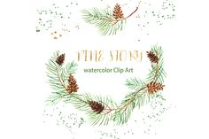 Romantic wedding, tender, green wreath, Pine cone arran by LABFcreations Wreath Watercolor, Watercolor And Ink, Pencil Illustration, Graphic Illustration, Art Illustrations, Botanical Illustration, Wedding Clip, Wedding Dress, Drawing Clipart