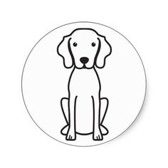 Vizsla Dog Cartoon Round Stickers