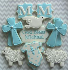 One Dozen Girl or Boy Personalized Decorated Sugar Cookies For Baptism Communion Confirmation Baby Cookies, Baby Shower Cookies, Iced Cookies, Fun Cookies, Cupcake Cookies, Sugar Cookies, Decorated Cookies, Cameo Cookies, Monogram Cookies