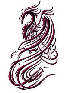 Phoenix tattoo design - would do this in pink and purple methinks.