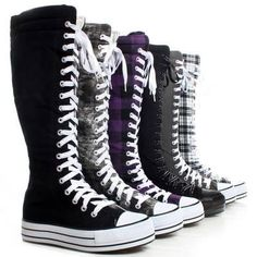 Canvas Platform Sneakers Ladies Punk Womens Skate Shoes Lace Up Knee High Boots. I know these are for women but a lot of women's boots and shoe's look on men. You'd be surprised. Knee High Converse, Knee High Sneakers, Converse Chucks, Knee High Boots, Platform Sneakers, Gothic Shoes, Punk Shoes, Look Fashion, Fashion Boots