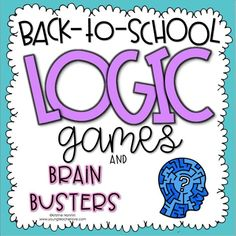 Back to School and Beginning of the Year Logic Games and Brain Busters I created these logic and brain games as a fun activity to give to your students at the start of the year (or anytime for enrichment.) The games are back-to-school-themed and ask your First Day Of School Activities, First Day School, Beginning Of School, Math Activities, Math Enrichment, Elderly Activities, Dementia Activities, Kindergarten Worksheets, Educational Activities