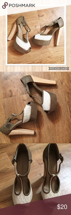 Wood Heel Burlap Pump Heels Gorgeous neutral colored natural heels with wood grain looking heels and burlap textured fabric. No size tag on the shoes but I bought them at Platos Closet and they were tagged an 8.5. Shoes Heels