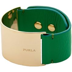 Furla Emerald Green Leather and Metal Cuff (686.245 IDR) ❤ liked on Polyvore featuring jewelry, bracelets, green, metal bangles, leather bangle, leather jewelry, snap jewelry and cuff bangle