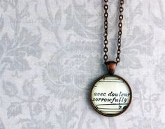 "Sheet music necklace ""sorrowfully"" by GildedNotes, $26.00"