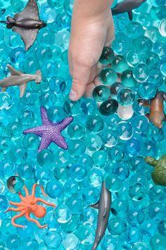 Fun Kids Summer Party + Ocean Sensory Bin Ocean sensory bin with water beads tutorial Mermaid Theme Birthday, Moana Birthday Party, Moana Party, 4th Birthday, Pirate Birthday, Birthday Ideas, Mermaid Party Games, Mermaid Parties, Water Birthday Parties