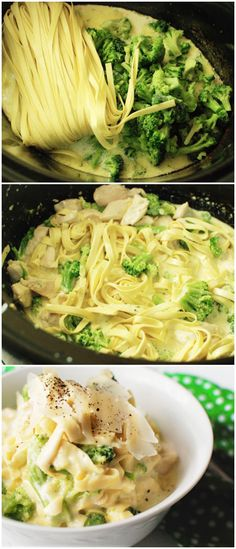 CROCKPOT: Chicken Fettuccine Alfredo 2 tablespoons minced garlic 1/4 cup olive oil 1 pint cream 2 boneless, skinless chicken breasts (sliced) 2 overflowing cups broccoli florets (one package Cascadian Farm frozen) 9 ounces refrigerated fresh fettuccine (one package)