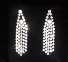 Vintage Dangling Rhinestones pierced Earrings c1960 by JoolsForYou, $25.00