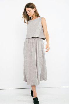 Bel Skirt in Linen Gauze – Elizabeth Suzann