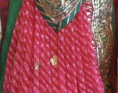Chanderi Kurta and Georgette Dupatta Set by Threadsandblocks