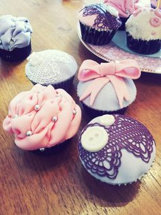 Vintage lace and fabric cupcakes