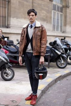 A resounding yes to this laid-back combo of a brown leather bomber jacket and charcoal jeans! Complement your ensemble with a pair of red leather desert boots and off you go looking dashing. Brown Leather Bomber Jacket, Red Leather Boots, Leather Chukka Boots, Bomber Jacket Men, Jacket Jeans, Red Boots, Bomber Jackets, Desert Boots, Cardigan Long