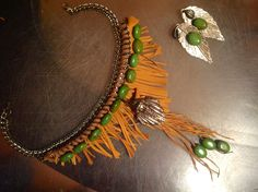 LEATHER AND TURQUOISE NECKLACE $50.00