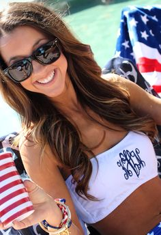 Monogrammed Bathing Suit Bandeau Tube Top from Marleylilly.com