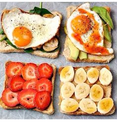 Breakfast options!! Toast with spinach/ egg.  Toast with avacado/egg.  Toast with almond butter/strawberries.   Toast with PB /bananas. #charlottepediatricclinic