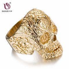 DANZE Punk Male Men Skull Ring Mens Signet Rings 7-14# Titanium Steel Skeleton Anel Gold Black Color Dropshipping Gift Jewelry #Affiliate