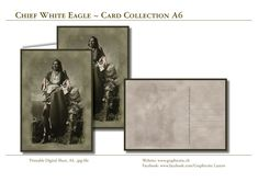 """Native American Indian Chief """"White Eagle""""! Greeting Card, Postcard, downloadabl, printable, digital Sheets for unlimited printing.   Hi-Res photo enhanced Images to create your own Cards. Purchase - Download - Print! Create Your Own Card, Design Studio, Grafik Design, Native American Indians, Paper Design, Stationary, Card Making, Eagle, Greeting Cards"""