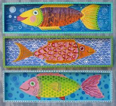 Set of 3 Whimsical Fish Signed Original by GulfportArtist on Etsy, $75.00 Beach Themed Art, Beach Art, Popular Art, Arte Popular, Pallet Painting, Painting On Wood, Bright Colors Art, Fauna Marina, Fabric Fish
