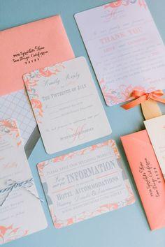 peach invitation suite, photo by Matt Edge http://ruffledblog.com/southern-inspired-wedding #stationery #weddinginvitations #invites