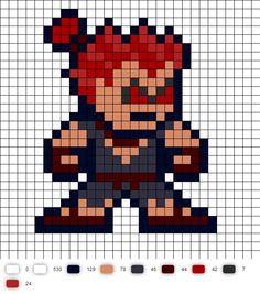 Akuma Street Fighter 2 Perler Bead Pattern