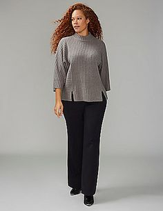 2083c91f8ea Ribbed textures cover this mock-neck sweater. 3 4-length dolman sleeves