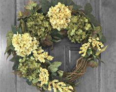 Pink Hydrangea Wreath Spring Wreath Front Door by FloralXchange
