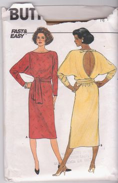1980s vintage sewing pattern for backless by beththebooklady, $7.99