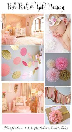 Nursery Design- Posh Pink & Gold Glam baby girl nursery ideas & inspiration for a little princess #nursery #pink #gold
