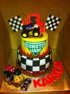 Monster truck cake. Cake is totally edible minus the trucks.