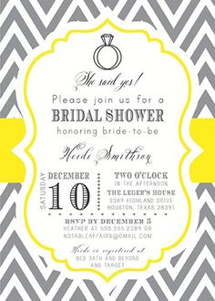 Gray Charcoal and Yellow Mustard Chevron Engagement, Bridal, Couples Shower/Party Invitation