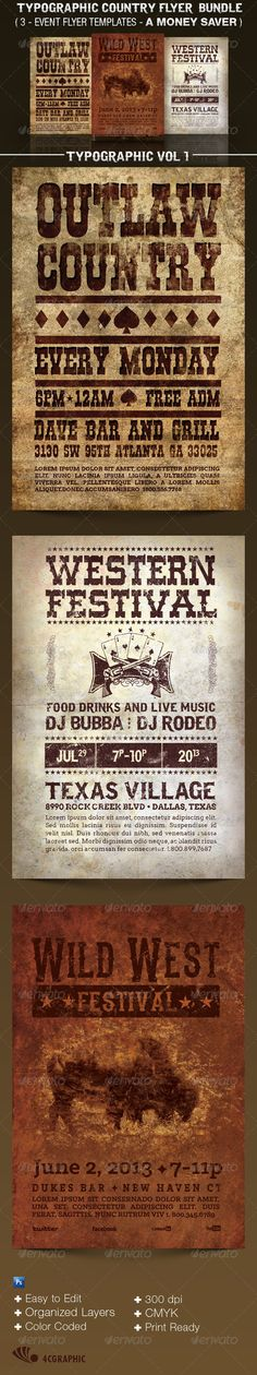 Country Western Flyer Templates Bundle Vol 1 - Events Flyers