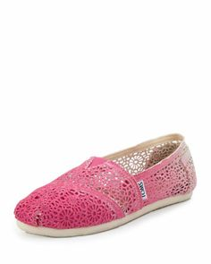 Ombre Crochet Slip-On, Fuchsia  by TOMS at Neiman Marcus.