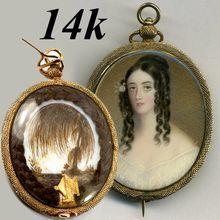 Antique 14k Gold Brooch, Pendant, Portrait Miniature, Mourning Hair Art