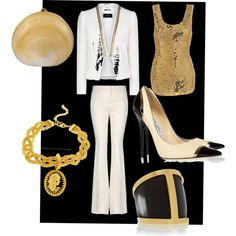 """Solid Gold White Party"" by europeanfashionstylist on Polyvore"