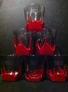 $12.99 Maker's Mark Rocks Glasses Red Wax Dipped Set of Six Bar Glasses Ready 4YOU | eBay
