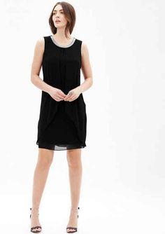 s.Oliver BLACK LABEL Chiffon-Kleid mit Schmuckblende Schwarz Weiß,  Bekleidung, Neue 7a11f70169
