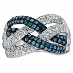 1 Ct Enhanced Blue And White Real Diamond Loose Braid Ring In 10K White Gold # Free Stud Earrings by JewelryHub on Opensky
