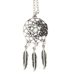 LOVEsick Rose Dreamcatcher Necklace Hot Topic ($4.87) ❤ liked on Polyvore featuring jewelry, necklaces, rosette necklace, rose necklace and rose jewelry