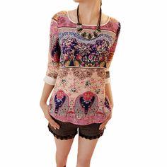 夏秋女性の韓国エレガントな花膝パフスリーブシャツ花トップ女の子カジュアルスリムブラウスサイズs-xxl