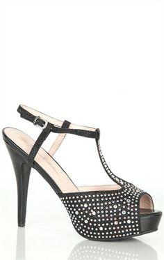 Mesh Glitter High Heel with Stones
