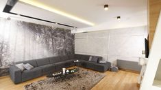 Szary salon. Projekt: Monika i Adam Bronikowscy. Fot. Bartosz Jarosz Living Room Grey, Conference Room, Couch, Flooring, Table, Concrete Walls, Furniture, Carpets, Home Decor