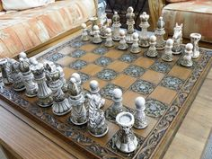 Ornate Themed Chess Set Matching Board by on DeviantArt Chess Moves, Chess Set Unique, Chess Table, Kings Game, Auction Projects, Chess Pieces, Table Games, Antiques, Creative