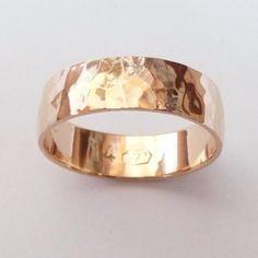 Man 14k rose gold wedding band hammered 6mm wide ring women hammer shiny finish. $425.00 USD, via Etsy.