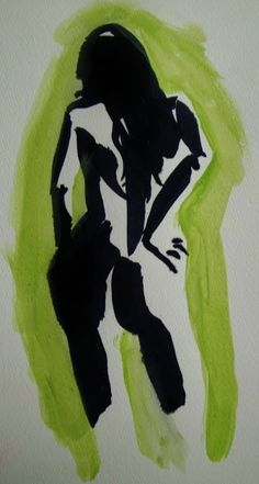 Ink nude on green by Daniel Santisteban