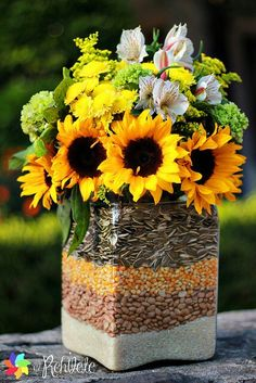 Sunflowers and seeds...could do other flowers