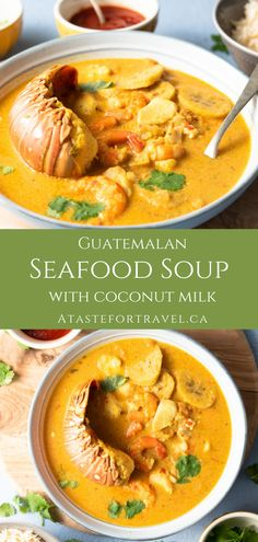 This delicious seafood soup with coconut milk is a traditional dish from the Caribbean coast of Guatemala and Honduras. The fragrant coconut broth packed with fresh fish lobster shrimp plantain and yucca makes it ideal for lunch or dinner. Coconut Fish, Coconut Milk Soup, Shrimp Soup, Fish Soup, Seafood Soup Recipes, Easy Soup Recipes, Lobster Soup, Guatemalan Recipes, Tapas