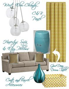 grey Turquoise and yellow. I love this inspiration board.I want to paint walls grey and one yellow accent wall.paint my dining room table turquoise. Grey And Yellow Living Room, Yellow Rooms, Teal Yellow, Aqua, Turquoise, Yellow Accent Walls, Grey Walls, Home Interior Design, Interior Decorating