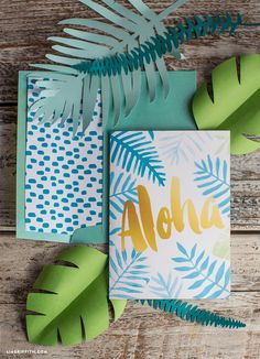 Say Aloha to the warmer weather with these pretty aloha greeting cards! Simply download the PDF and print onto white card stock for a tropical, DIY hello