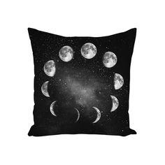 Moon phases pillow. Great black and white dorm or apartment decor.  Size: 14x14, 16x16, 18x18, 20x20, or 26x26.  Material: spun polyester cover with zipper, optional polyester insert. #pillow #throwpillow #pillows #pillowcover #homedecor #interiors #interiordesign #photopillow #moon #celestial #galaxy