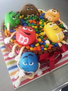 M & M's Cake.  LOVVVE me some m & m's!!! Hear about the blond that got fired from the M & M factory? She kept throwing out the W's.....Lmao